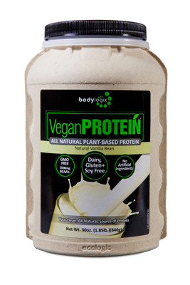 New, Eco-Friendly, Gluten-Free Vegan Protein Supplement in Compostable Canister