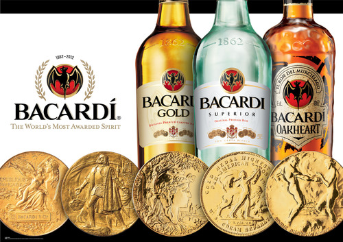BACARDI Rum-The World's Most Awarded Spirit with nearly 600 awards in 150 years.  (PRNewsFoto/Bacardi ...