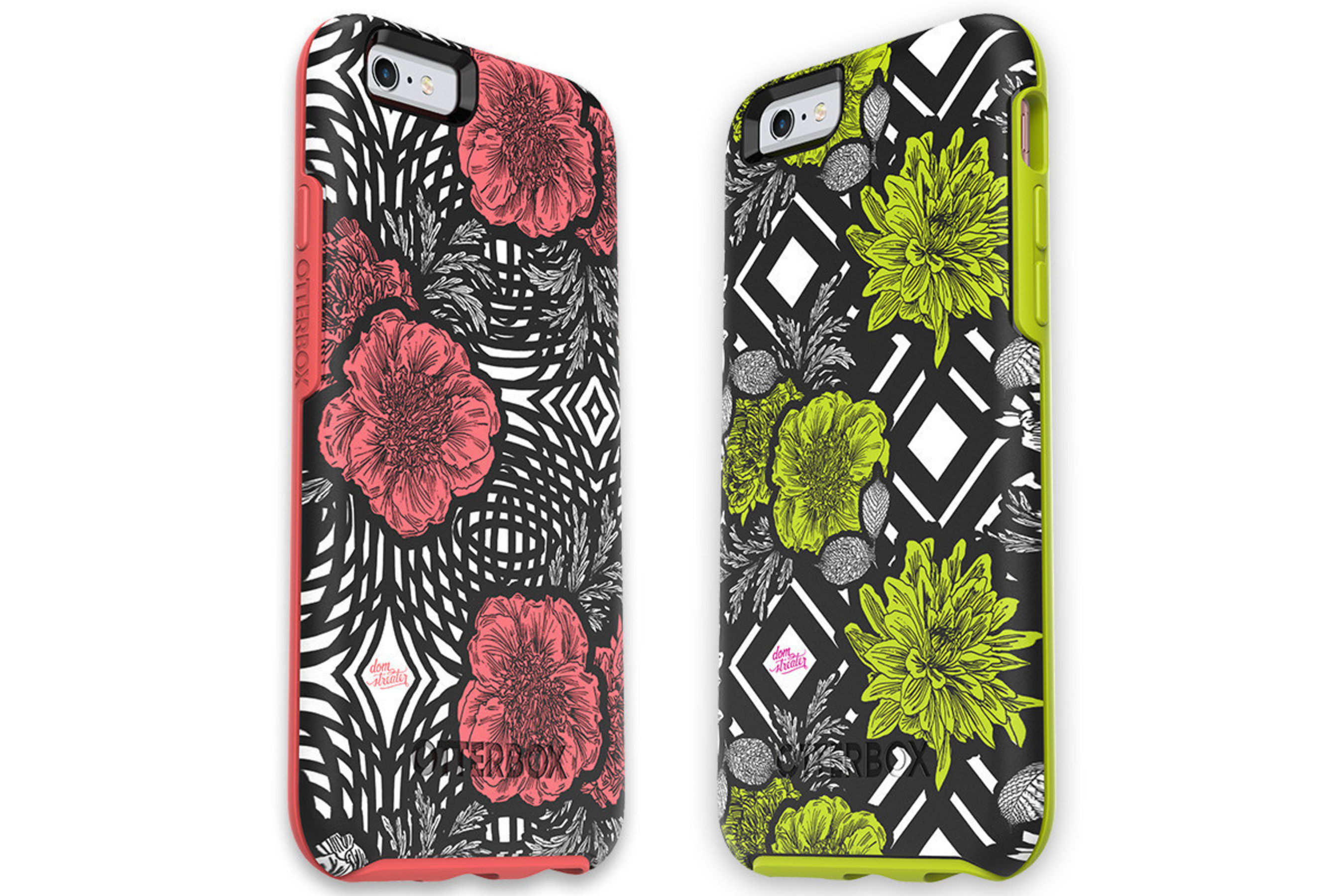 Symmetry Series cases boast a slim and sleek form for on-the-go protection. 'Green Diamond' and 'Pink Swirl' are available now.