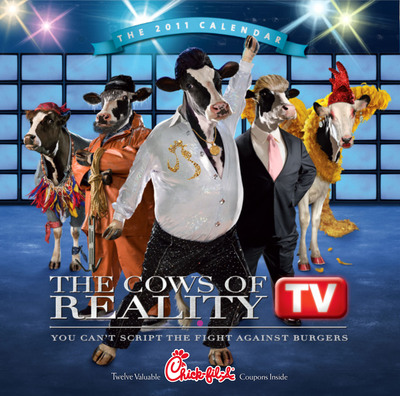 """The highly-anticipated 2011 Chick-fil-A Calendar is in stores now and spotlights """"The Cows of Reality TV."""" Each month celebrates a different cow character, including dancers, designers and survivors, as well as a monthly coupon for a free Chick-fil-A food or beverage item.  (PRNewsFoto/Chick-fil-A, Inc.)"""