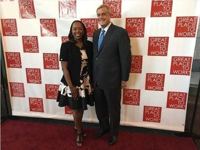 Diana Small, Vice President of Human Resources at HORAN, and Terence L. Horan, President & CEO of HORAN, at the Best Small and Medium Workplaces celebration in Austin, Texas.