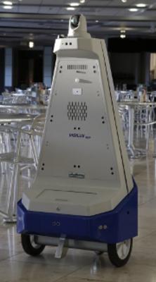 Vigilant Security Robot on night-time patrol in venue cafeteria. (PRNewsFoto/Gamma 2 Robotics, Inc.)
