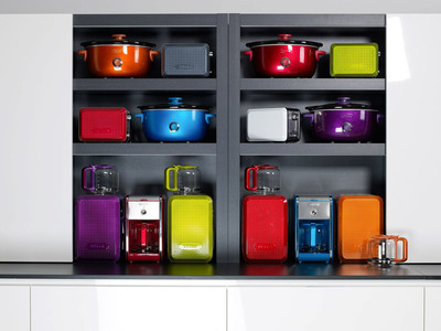 BELLA introduces a new counter culture with the launch of BELLA Dots specialty kitchen appliances. The contemporary collection, featuring a coffee maker, toaster and slow cooker, brings a new counter culture to the kitchen by adding fashion-forward color, style and design to the everyday appliance.  Available in eight vibrant colors (red, pink, blue, purple, grey, orange, green and pearl white); the signature textured metal shell features a recessed dot pattern and metallic finish on its chic exterior, adding another striking design element to the appliances' overall flair.  (PRNewsFoto/Sensio Inc.)