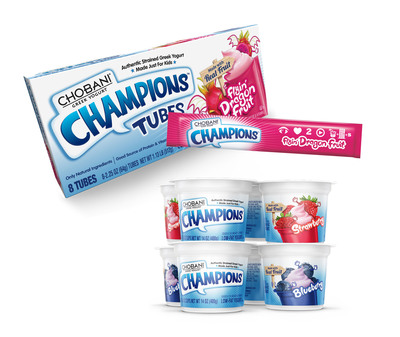 Chobani Champions(R) Greek Yogurt Tubes new Flyin' Dragon Fruit flavor offers grab-and-go convenience for kids on the move - no spoon required! Chobani Champions is also introducing Blueberry and Strawberry flavors in the popular 3.5 oz. cup format. In addition to offering a good source of protein, Chobani Champions Greek Yogurt contains Vitamin D for growing bodies.  (PRNewsFoto/Chobani)