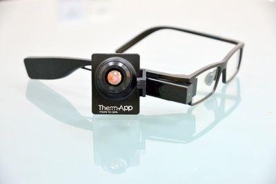 "Therm-Appâ""¢ mobile thermal imaging camera combined with Lumus wearable computing and personal display provides hands-free long range night vision. (PRNewsFoto/Opgal)"