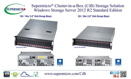 Supermicro(R) Cluster-in-a-Box (CiB) Storage Solutions w/Windows Server 2012 R2 SE. (PRNewsFoto/Super Micro ...