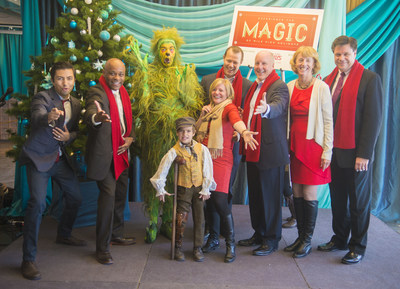 Mile High Holidays 2014 Press Conference: (From Left to Right) Shaun Taylor-Corbett (Frankie Valli, Jersey Boys), Mayor Michael B. Hancock, The Grinch (How The Grinch Stole Christmas! The Musical), Tiny Tim (A Christmas Carol), Tami Door (Downtown Denver Partnership), Dave Dixon (Cherry Creek Shopping Center), Richard Scharf (VISIT DENVER), Julie Underdahl (Cherry Creek North) and Jeff Hovorka (DCPA) at the Mile High Holidays 2014 Press Conference. Image courtesy of Evan Semon.