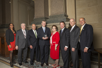 Museum of the American Revolution officials accept a $1.5 million gift from The Church of Jesus Christ of Latter-day Saints in Philadelphia's City Hall. From left: Desiree Peterkin-Bell, City Representative; Robert B. Smith, Church official; former Governor of Pennsylvania Edward G. Rendell; Dennis Brimhall, President and CEO of FamilySearch International; Dr. Marion Lane, Museum Board Member; Carl M. Buchholz, Museum Vice Chairman; Michael Quinn, Museum President and CEO; and Councilman Mark Squilla.