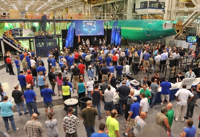 Spirit AeroSystems employees gather at the company's Wichita, Kan. facility to celebrate 5,000 Next-Generation 737 deliveries to The Boeing Company.