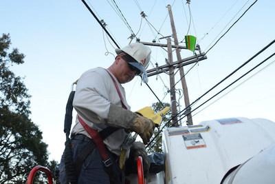 Georgia Power lineman works to restore power to coastal Georgia following Hurricane Matthew.