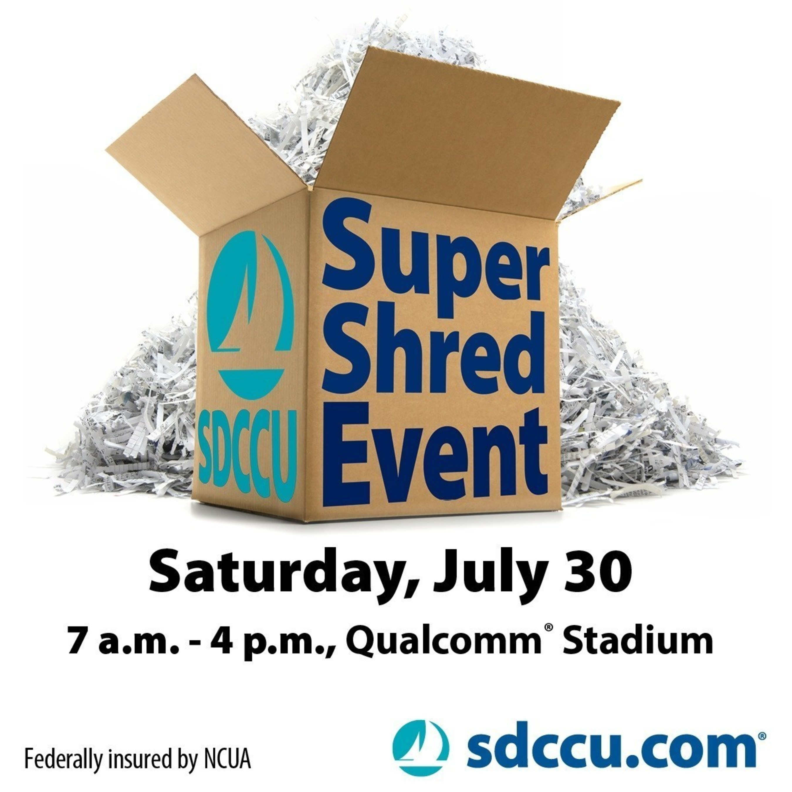 The SDCCU Super Shred Event is Saturday, July 30 from 7 a.m. to 4 p.m. at Qualcomm(R) Stadium. It's going to be the biggest in history - SDCCU is planning to shred the Guinness World Record(R) for most paper collected in 24 hours at a single location. The public is invited to bring all of their old documents containing personal and confidential information to be shred at no charge.