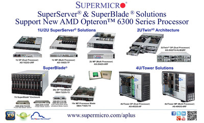 Supermicro(R) SuperServers & SuperBlade Support New AMD Opteron 6300 Processors.  (PRNewsFoto/Super Micro Computer, Inc.)