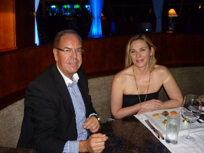Managing Director of Divi Resorts Aruba and Bonaire with Actress Kim Cattrall at the Windows on Aruba exclusive Aruba Intl Film Festival after-party.  (PRNewsFoto/Divi Resorts)