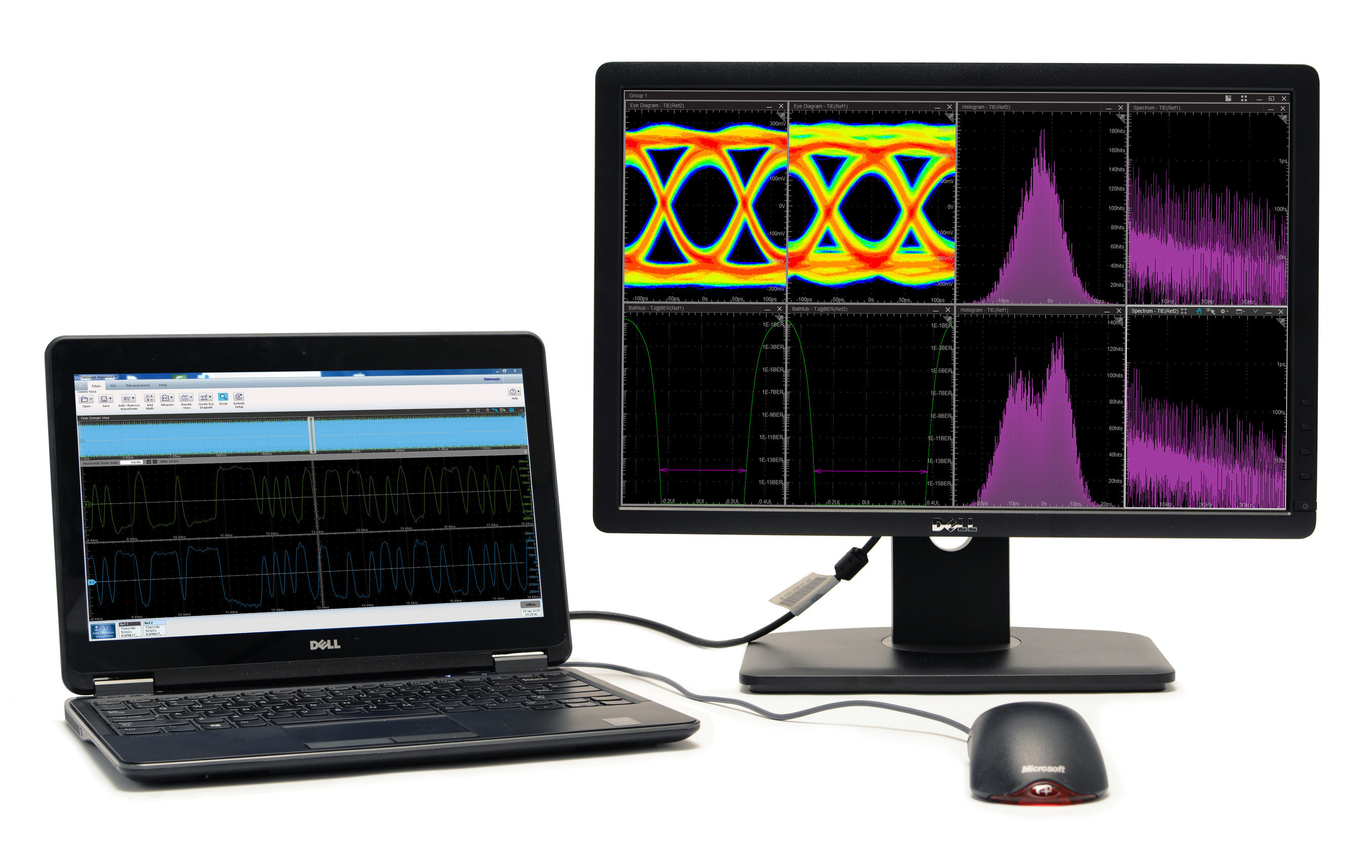 TekScope Anywhere, a new software offering that extends the visualization, analysis, and reporting capabilities found on Tektronix oscilloscopes to Microsoft Windows-based PCs, tablets and servers. TekScope Anywhere enables users to collect, analyze and collaborate without being tied to the instruments in their lab.