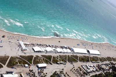 An aerial view of a signature event on Miami Beach at the Food Network & Cooking Channel South Beach Wine & Food Festival.