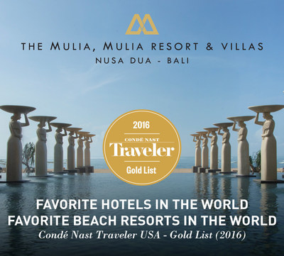 Conde Nast Traveler Loves The Mulia Bali as one of their favourite beach resorts in the world