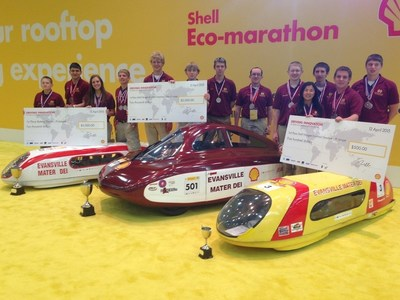 Mater Dei High School poses with their current award-winning vehicles. Since 2007, Shell Eco-marathon Americas has evolved to include seven energy classes, including diesel, gasoline, ethanol, gas-to-liquid (GTL), compressed natural gas (CNG) hydrogen and battery electric, with some vehicles capable of traveling over 3,500 mpg.