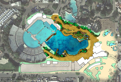 Overhead view of plans for SeaWorld's expanded killer whale environment. The new habitat will nearly double in size. (PRNewsFoto/SeaWorld Entertainment, Inc.)