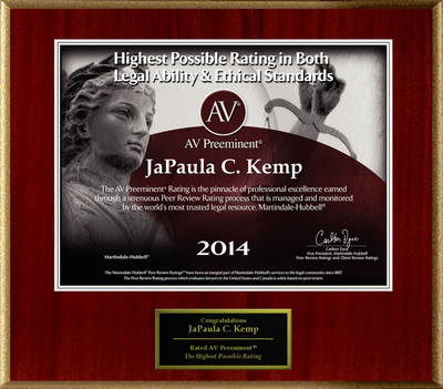 Attorney JaPaula C. Kemp has Achieved the AV Preeminent® Rating - the Highest Possible Rating from Martindale-Hubbell®.