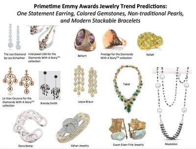 Primetime Emmy Awards Jewelry Trend Predictions: One Statement Earring, Colored Gemstones, Non-traditional Pearls, and Modern Stackable Bracelets (PRNewsFoto/StyleLab)