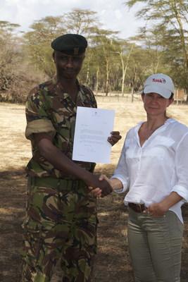 Edward Ndiritu, winner of Ranger Award with Sarah Watson, Director of Programs, Tusk