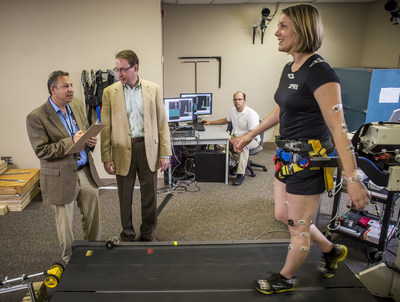 David A. Brown, PT, Ph.D. UAB Professor and Program Director Ph.D., in Rehabilitation Science and Robert Hergenrother, Ph.D., Director of AIMTech, work with a UAB graduate student to test an instrumented treadmill for gait and balance rehabilitation under development by AIMTech, the UAB/Southern Research Institute medical technology group. This medical device is designed to help rehabilitate patients with balance and walking impairments caused by neural trauma, such as stroke or spinal cord injuries.