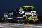 NS Locomotive 6963 rolls out of Norfolk Southern's Altoona paint shop sporting a unique livery that commemorates the 10th anniversary of GoRail, a non-profit organization dedicated to educating the public about the benefits of moving more freight by rail.  (PRNewsFoto/Norfolk Southern)