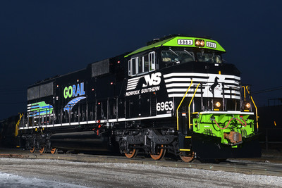 NS Locomotive 6963 rolls out of Norfolk Southern's Altoona paint shop sporting a unique livery that commemorates the 10th anniversary of GoRail, a non-profit organization dedicated to educating the public about the benefits of moving more freight by rail.