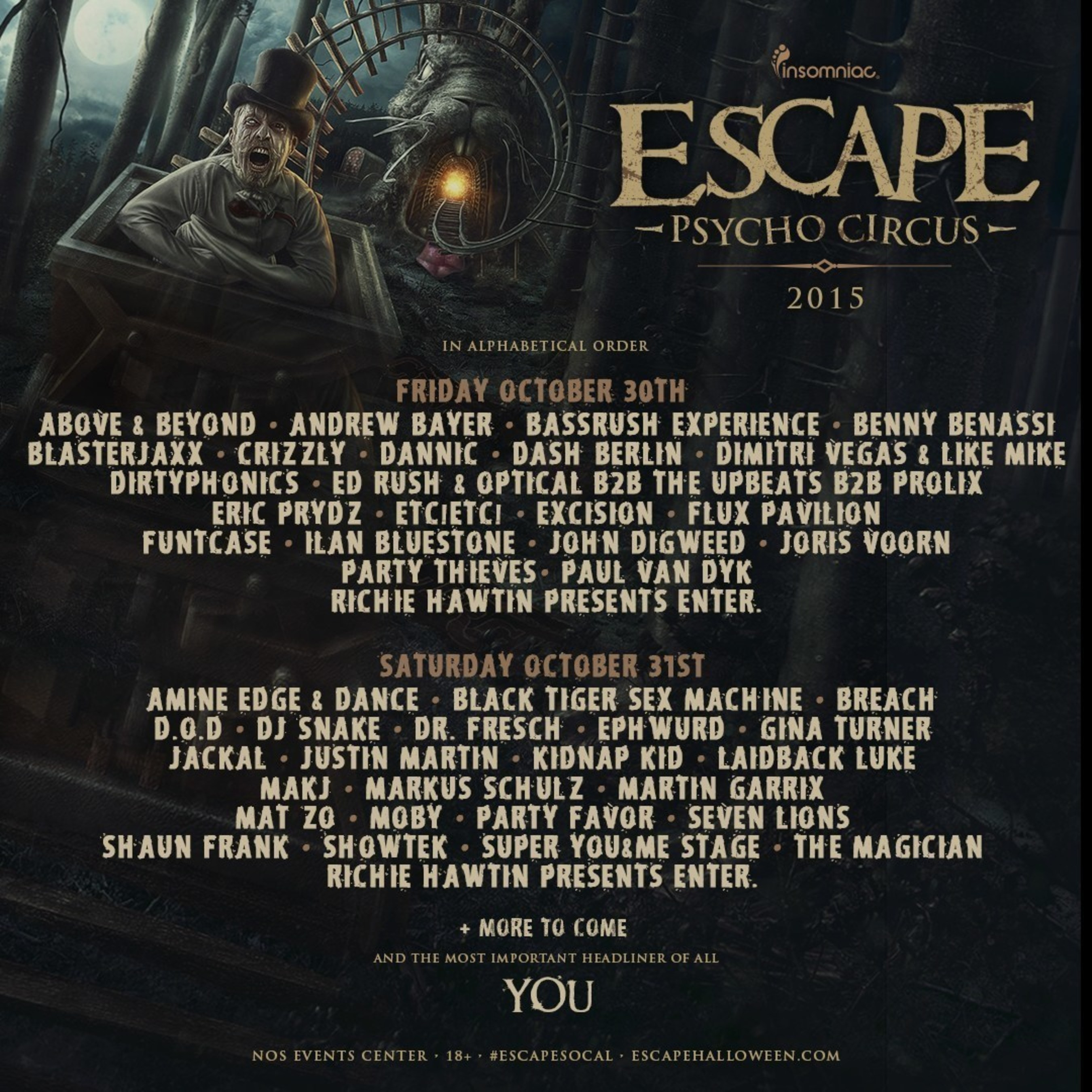 INSOMNIAC UNVEILS EXCITING FIRST ROUND OF ARTISTS FOR 5TH ANNUAL ESCAPE: ALL HALLOWS' EVE