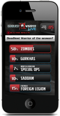 No need to text in your vote and wait for results to be tallied. Just touch a smart phone and see the results instantly displayed on the TV screen. Deadliest Warriors fans, using the Loyalize technology, will be a part of the LIVE season finale using smart phones, tablets and PCs. Fans will actually influence the show as it happens.  (PRNewsFoto/Loyalize)