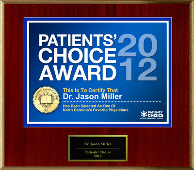 Dr. Miller of Raleigh-Durham, NC has been named a Patients' Choice Award Winner for 2012.  (PRNewsFoto/American Registry)