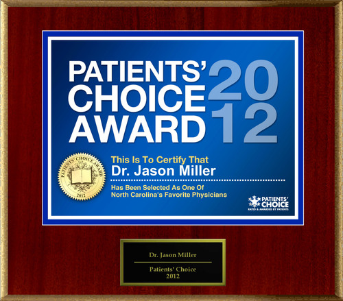 Dr. Miller of Raleigh-Durham, NC has been named a Patients' Choice Award Winner for 2012.  ...