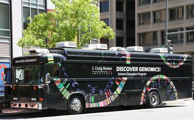 The J. Craig Venter Institute's Discover Genomics! Mobile Lab, in front of the Koshland Science Museum in Washington D.C. (PRNewsFoto/J. Craig Venter Institute)