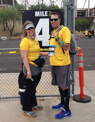 Pictured above is Randy and Tiffany Shepherd at the 4-mile marker at Tempe, Arizona's Pat's 4.2 mile Run, April 26, 2014. Randy made history that day by becoming the first SynCardia Total Artificial Heart patient, powered by the Freedom portable driver to complete the long distance course. (PRNewsFoto/SynCardia Systems, Inc.)