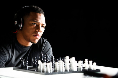 Ray Rice playing chess; behind the scenes from the Xenith photo/video shoot.