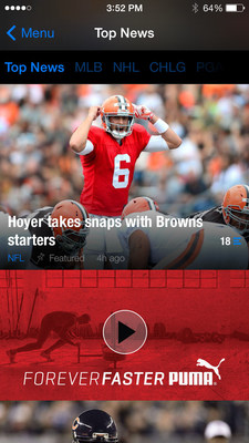 An example of a video enabled Forever Faster ad running within theScore's mobile news feed. (PRNewsFoto/theScore)