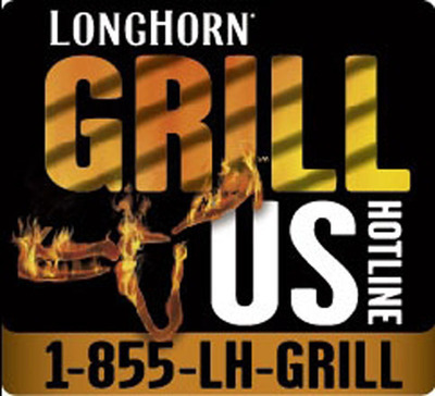 LongHorn Steakhouse(R) launches the LongHorn Grill Us Hotline, where the restaurant's certified Grill Masters will be on hand to answer consumers' burning questions. The Hotline is available via phone, text and Facebook on July 3-6 from 2-7 p.m. EST. LongHorn has been expertly grilling fresh, never frozen, steaks, chicken and fish for more than 30 years.  (PRNewsFoto/LongHorn Steakhouse)