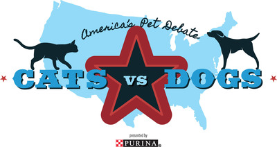 America's Pet Debate Presented by Purina is an opportunity for pet owners to come together in a fun, lighthearted debate of cats versus dogs, ultimately celebrating what makes each species so great. Purina will donate $1, up to $100,000, to Pet Partners' Veterans Programs for every vote submitted by Nov. 8, 2012. Visit www.americaspetdebate.com to cast your vote.  (PRNewsFoto/Purina)