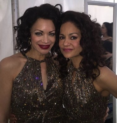 Yassmin and Karmine ready to go onstage in ON YOUR FEET!