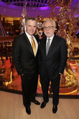 Jim Murren, Chairman & CEO of MGM Resorts International and CNN Anchor Wolf Blitzer celebrate the opening of MGM National Harbor on December 8, 2016.