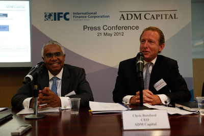 Serge Devieux IFC Director for Financial Markets Asia and Christopher Botsford, CEO of ADM Capital unveiled the details of the innovative financing facility at the press event.  (PRNewsFoto/ADM Capital; IFC)