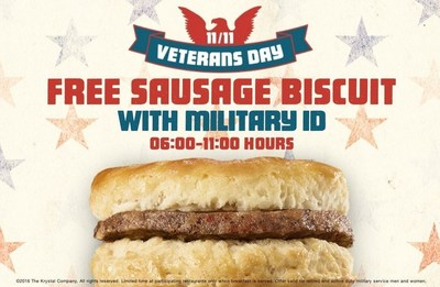 This Veterans Day, Krystal's honors veterans with a complimentary Sausage Biscuit.