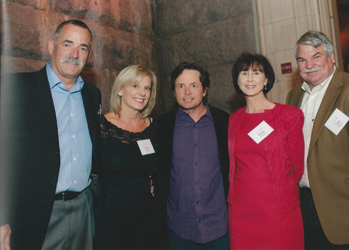 Northern California-based Danville d'Elegance (DDE) Foundation ranks as #1 Team Fox fundraiser nationwide for 2012 -- DDE Co-Founders Jim and Christine Edlund (left), and DDE Board Members Robin and Tom Halloran (right), join Michael J. Fox (center) at celebratory recognition dinner in New York City for the Michael J. Fox Foundation supporting Parkinson's research. (PRNewsFoto/Danville d'Elegance Foundation) (PRNewsFoto/)