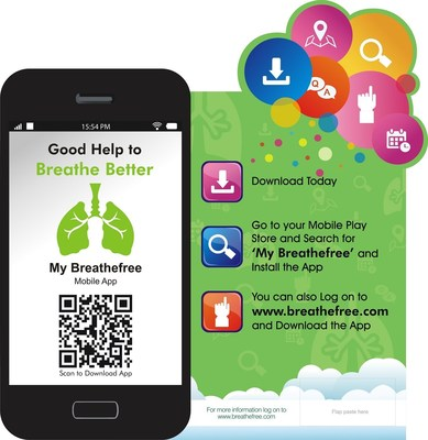 Good Help to Breathe Better - Download a virtual caregiver Mobile App for Asthma/COPD Patients in India on all mobile play stores (PRNewsFoto/Breathefree)