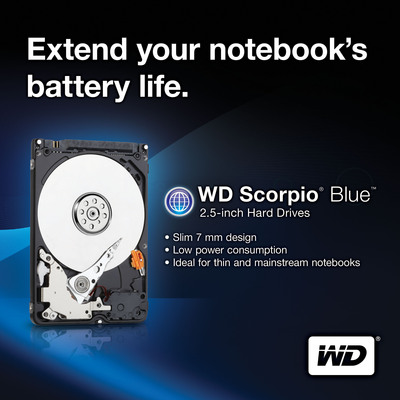 WD(R) SHIPS SLIM, ENERGY-EFFICIENT HARD DRIVE FOR ULTRABOOK(TM) DEVICES.  (PRNewsFoto/Western Digital Technologies)