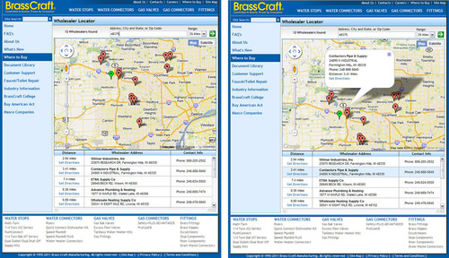 (left) Enter an address or Zip code, and the Locator will display all BrassCraft wholesalers within your ...
