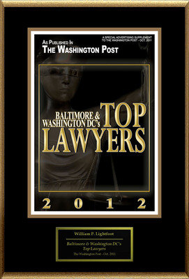 "William P. Lightfoot Selected For ""Baltimore & Washington DC's Top Lawyers.""  (PRNewsFoto/American Registry)"