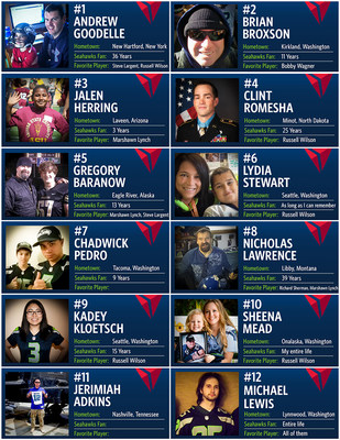 Delta and Seahawks select 12 deserving fans to attend Saturday's divisional playoff game in Seattle.