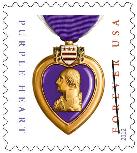 The U.S. Postal Service continues to honor the sacrifices of the men and women who serve in the U.S. military with the issuance of the new Purple Heart Medal Forever stamp. Available nationwide today in sheets of 20, the stamps can be purchased online at usps.com/shop or by calling 800-STAMP-24 (800-782-6724). The date and location of the special dedication ceremony will be announced at a later time.  (PRNewsFoto/U.S. Postal Service)