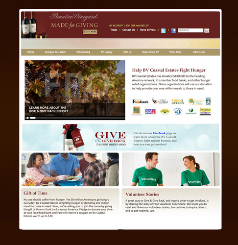 BV Coast Estate Wines Launches National Program to Benefit American Hunger Relief - BV Give & Give Back Porgram Gives over 1 Million Meals, Asks for 1 Million Minutes.  (PRNewsFoto/Beaulieu Vineyard)